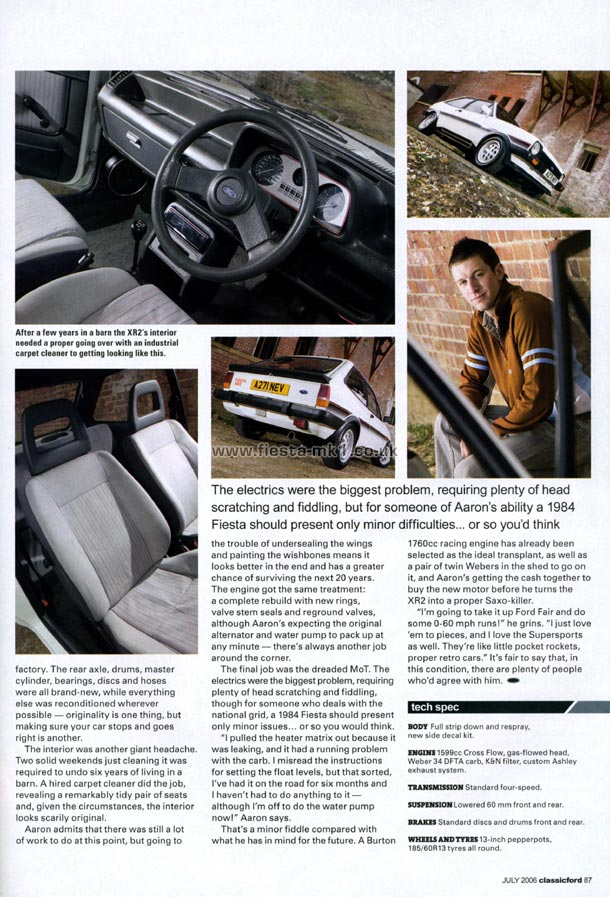 Classic Ford Feature Fiesta Xr